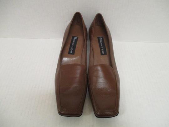 Etienne Aigner Square Toe Stacked Heel Loafer Made In Brazil Leather Upper Brown Pumps Image 1