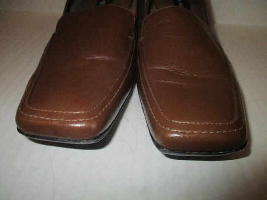 Etienne Aigner Square Toe Stacked Heel Loafer Made In Brazil Leather Upper Brown Pumps Image 2