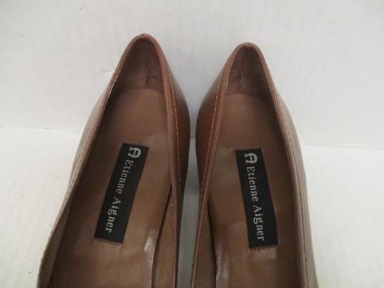 Etienne Aigner Square Toe Stacked Heel Loafer Made In Brazil Leather Upper Brown Pumps Image 3