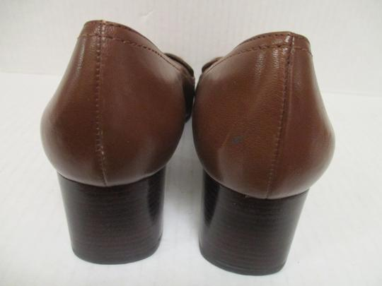 Etienne Aigner Square Toe Stacked Heel Loafer Made In Brazil Leather Upper Brown Pumps Image 4