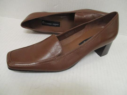 Etienne Aigner Square Toe Stacked Heel Loafer Made In Brazil Leather Upper Brown Pumps Image 5