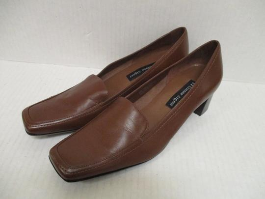 Etienne Aigner Square Toe Stacked Heel Loafer Made In Brazil Leather Upper Brown Pumps Image 6