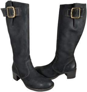 Paul Green Over Sized Buckle Knee High Soft Leather Burnished Toe Black Boots