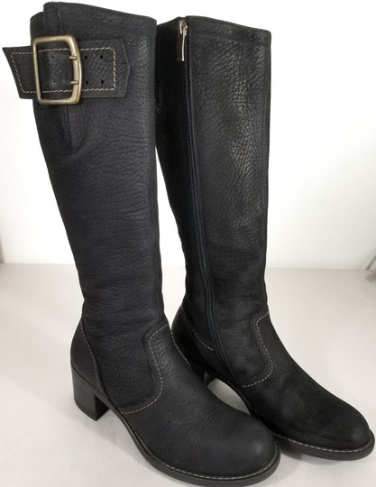 Paul Green Over Sized Buckle Knee High Soft Leather Burnished Toe Black Boots Image 1