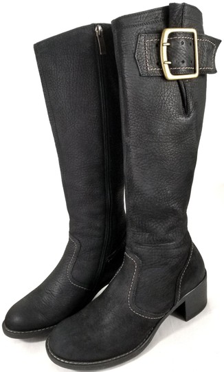Paul Green Over Sized Buckle Knee High Soft Leather Burnished Toe Black Boots Image 2
