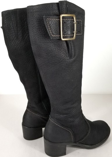 Paul Green Over Sized Buckle Knee High Soft Leather Burnished Toe Black Boots Image 3