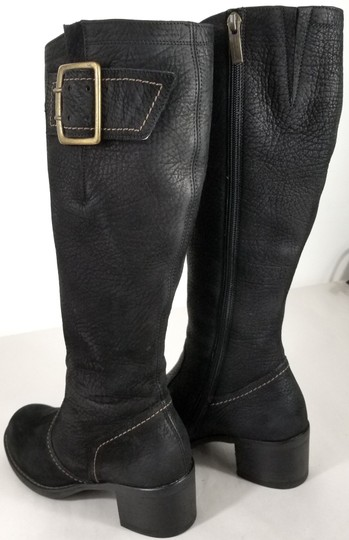 Paul Green Over Sized Buckle Knee High Soft Leather Burnished Toe Black Boots Image 4