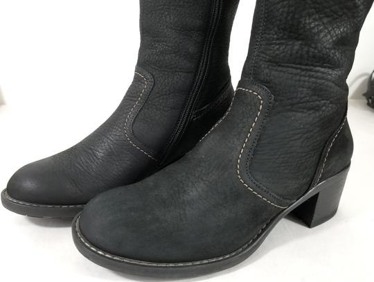 Paul Green Over Sized Buckle Knee High Soft Leather Burnished Toe Black Boots Image 5