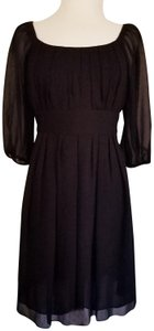 Suzi Chin for Maggy Boutique Sheer Empire Waist Zipper Pleated Dress