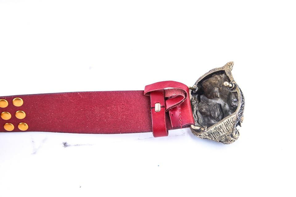 6837117b797 Gucci Gucci Studded Belt With Feline Buckle Red Image 4. 12345