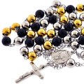 NY Collection Three Tone Stainless Steel Rosary Beads Religious Cross Long Y Chain Mens Necklace NY Collection Three Tone Stainless Steel Rosary Beads Religious Cross Long Y Chain Mens Necklace Image 1