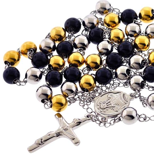 Preload https://img-static.tradesy.com/item/22758116/ny-collection-three-tone-mens-bead-rosary-religious-cross-pendant-stainless-steel-necklace-0-2-540-540.jpg