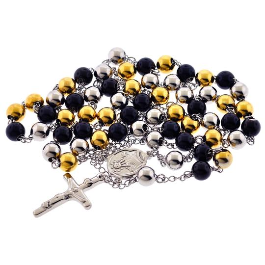 NY Collection Stainless Steel Rosary Beads Religious Cross Long Y Chain Mens Image 2
