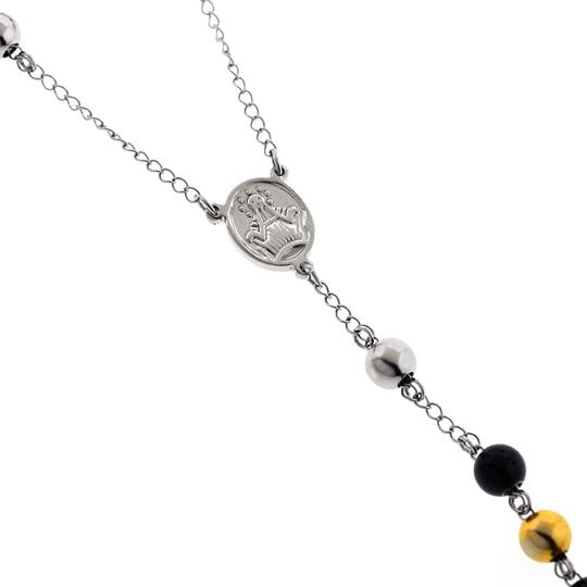 NY Collection Stainless Steel Rosary Beads Religious Cross Long Y Chain Mens Image 3