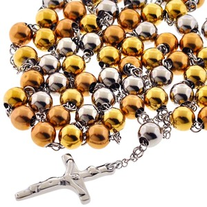 NY Collection Catholic Rosary Religious Cross Mens Long Lariat Chain Gold Steel