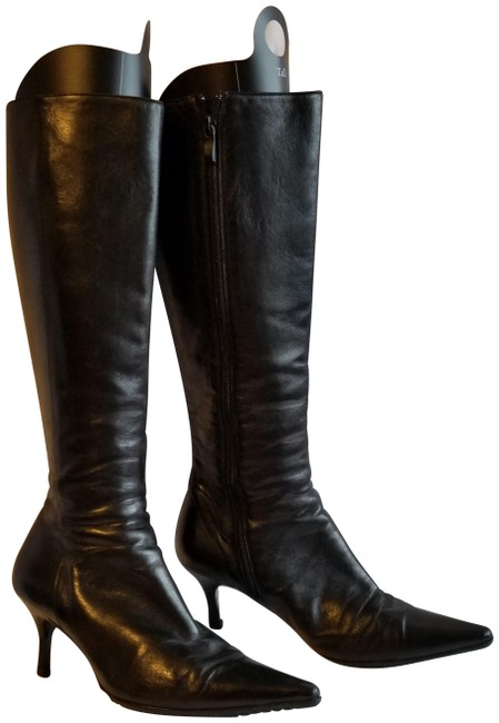 Bally Black Long Leather Boots/Booties Size EU 37.5 (Approx. US 7.5) Narrow (Aa, N) Bally Black Long Leather Boots/Booties Size EU 37.5 (Approx. US 7.5) Narrow (Aa, N) Image 1