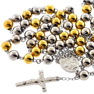 NY Collection Rosary Beads Catholic Religious Cross Mens Long Chain Gold Steel