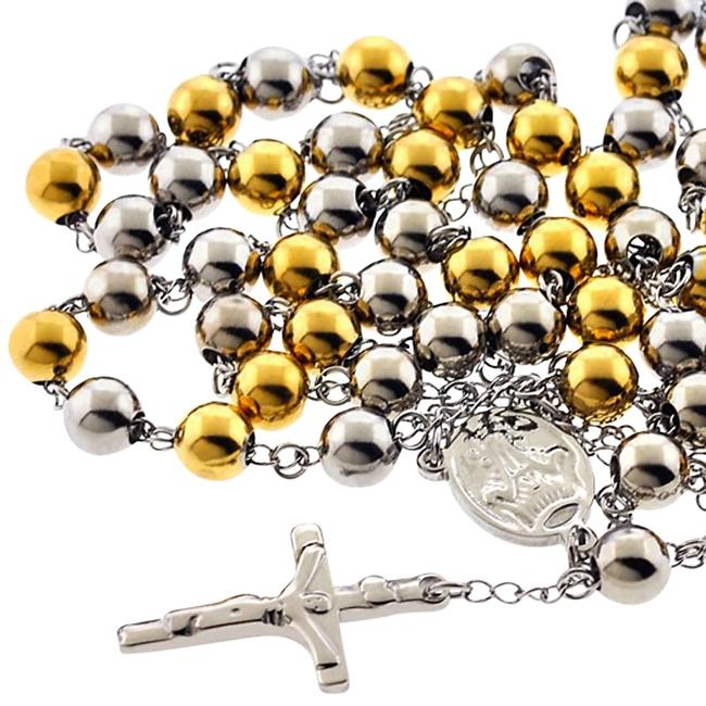 NY Collection Two Tone Gold Steel Rosary Beads Catholic Religious Cross Long Chain Mens Necklace NY Collection Two Tone Gold Steel Rosary Beads Catholic Religious Cross Long Chain Mens Necklace Image 1
