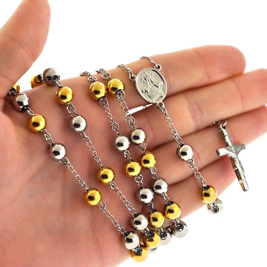NY Collection Gold Steel Rosary Beads Catholic Religious Cross Long Chain Mens Image 1