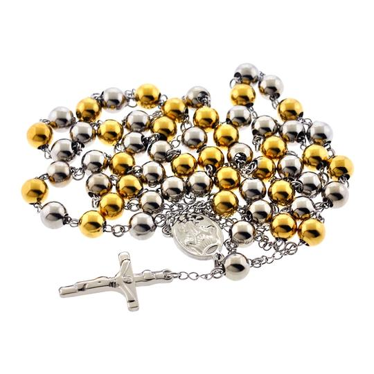 NY Collection Gold Steel Rosary Beads Catholic Religious Cross Long Chain Mens Image 2