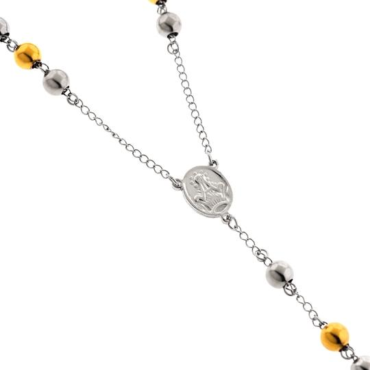 NY Collection Gold Steel Rosary Beads Catholic Religious Cross Long Chain Mens Image 3