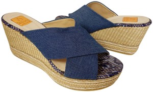 Kanna navy denim Wedges