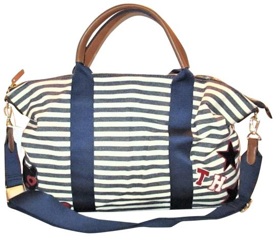 Tommy Hilfiger Next Day Shipping Navy / Natural Travel Bag Image 0