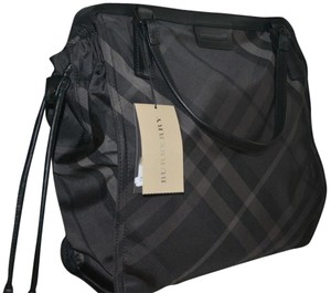 Burberry Purse Hand Nylon Check Tote in Charcoal