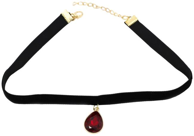 Ocean Fashion Red Ladies Plush Belt Pendant Drop Crystal Choker Necklace Ocean Fashion Red Ladies Plush Belt Pendant Drop Crystal Choker Necklace Image 1