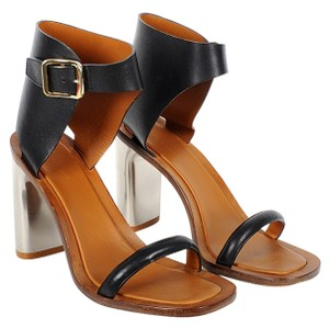 Cline Bam Bam Leather Gold Hardware Black and Silver Sandals