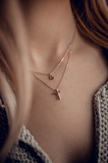 Ocean Fashion Silver Duplexes small crystal cross and heart necklace Image 2