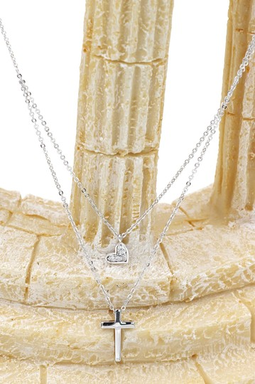 Ocean Fashion Silver Duplexes small crystal cross and heart necklace Image 3
