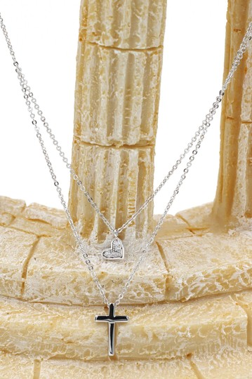 Ocean Fashion Silver Duplexes small crystal cross and heart necklace Image 5