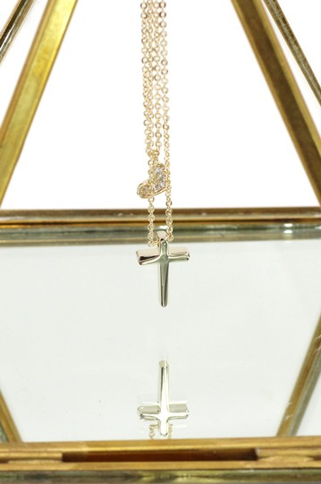 Ocean Fashion Gold Duplexes small crystal cross and heart necklace Image 3