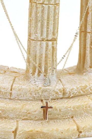Ocean Fashion Gold Duplexes small crystal cross and heart necklace Image 6