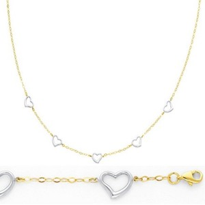 Yellow and White Gold 2pc Heart 14k Link Heart Necklace Bracelet Jewelry Set