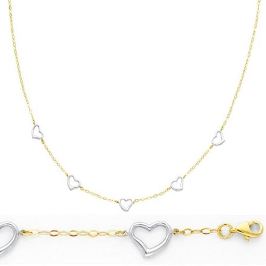 Yellow and White Gold 2pc Heart 14k Link Heart Necklace Bracelet Jewelry Set Image 1