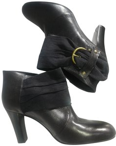 Jones New York Leather Upper Leather Sole Heeled Rounded Toe Buckled Decoration Black Boots