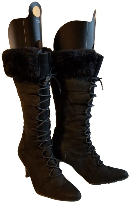 Colin Stuart Black With Fur Boots/Booties Size US 6.5 Narrow (Aa, N) Colin Stuart Black With Fur Boots/Booties Size US 6.5 Narrow (Aa, N) Image 1