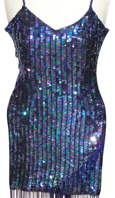 Just Female Sequin Fringe Hem Dance Ballroom Party Dress Image 2