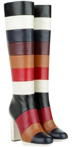 Valentino Leather Platform Iconic Striped Multicolor Boots