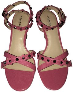 Coach Imported Casual Floral Ankle Strap Pink Wedges