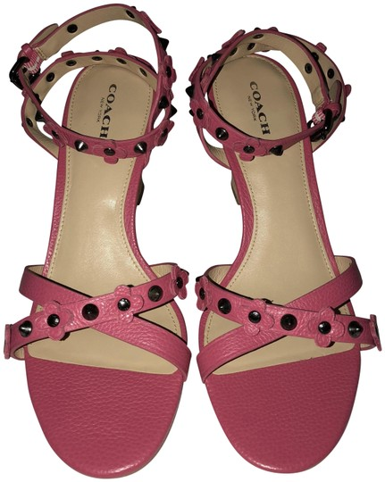 Coach Imported Casual Floral Ankle Strap Pink Wedges Image 0
