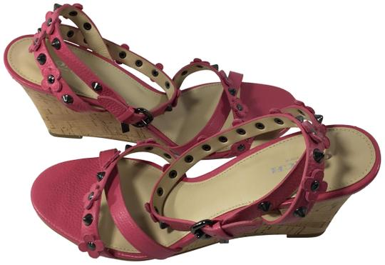 Coach Imported Casual Floral Ankle Strap Pink Wedges Image 1
