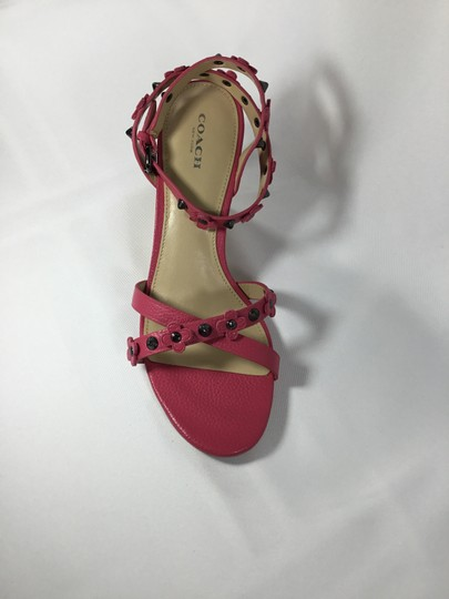 Coach Imported Casual Floral Ankle Strap Pink Wedges Image 2