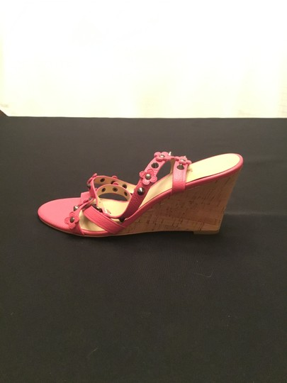 Coach Imported Casual Floral Ankle Strap Pink Wedges Image 7