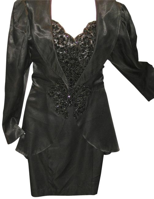 Just Female Black W 2pcs Tailored T-strap W/Matching Pelum Shawl Collar Jacket Mid-length Cocktail Dress Size 12 (L) Just Female Black W 2pcs Tailored T-strap W/Matching Pelum Shawl Collar Jacket Mid-length Cocktail Dress Size 12 (L) Image 1