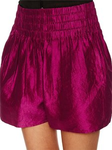 Calypso St. Barth High Waisted Smocked Pockets Mini/Short Shorts Sangria