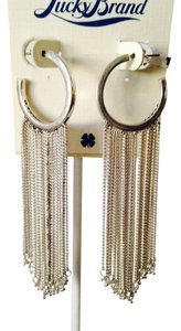 Lucky Brand NWT Silver-Tone Long Tassel Hoop Earrings