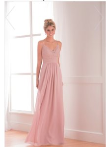 Jasmine Bridal Misty Pink Lace / Poly Chiffon B173018 Long V-neck Formal Bridesmaid/Mob Dress Size 8 (M)